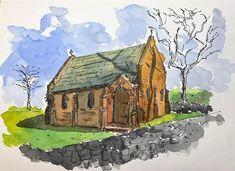 "Joy Liu on Instagram: ""⛪️Gostwyck Chapel 📸2016 🖋 🖍 🖼 🏡 #watercolor #urbansketch  #inksketch #asadclaw #art #waterbrush #schmincke#drawing #perspective…"" Water Brush, Interesting Stuff, Perspective, Joy, Urban, Watercolor, House Styles, Drawings, Instagram"