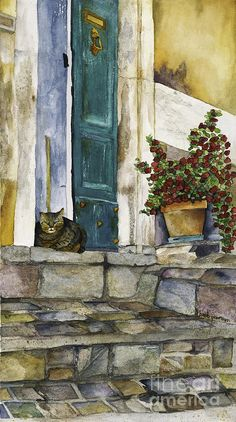 Cat Painting - Di Gatto by Barb Pearson