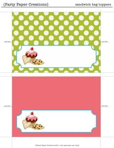 Printable bag toppers | View this link to download the Bake Sale Printables