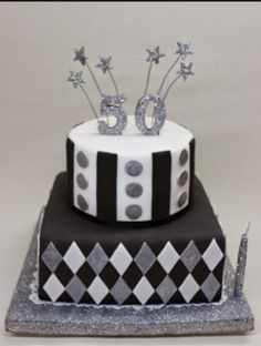 Black & Silver Cake by Violeta Glace Birthday Cakes For Men, 50th Birthday, Silver Cake, Fondant, Decorative Boxes, Birthdays, Receptions, Chocolates, Ariel