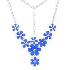 Blue Floral Hot Fashion Flower Choker Bib Necklace Women Collar Necklace