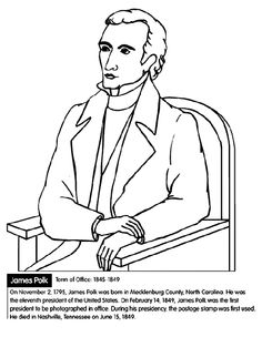 color the picture of former president james polk