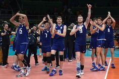 (From L) Italy's Emanuele Birarelli, Italy's Salvatore Rossini, Italy's Oleg Antonov, Italy's Ivan Zaytsev, Italy's Luca Vettori, Italy's Simone Giannelli and Italy's Simone Buti celebrate after winning their men's semi-final volleyball match against USA at Maracanazinho Stadium in Rio de Janeiro on August 19, 2016, at the Rio 2016 Olympic Games. / AFP / Juan Mabromata
