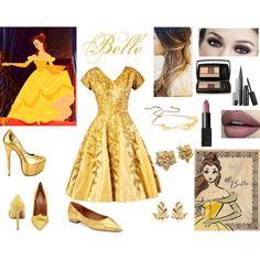 Belle Disney bound #1 by myki19 on Polyvore featuring Mulberry, Rachel Roy, Liliana, Elizabeth Taylor, Susan Caplan Vintage, Jennifer Behr, Lancôme and NARS Cosmetics