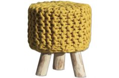 By-Boo Wool Stool - Yellow - Sterling Furniture Sterling Furniture, Bedroom Furniture, Stool, Flooring, Yellow, Interior, Mustard, Design, Home Decor