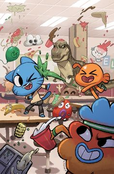 Gumball in a food fight!-Gumball in a food fight! Gumball in a food fight! Cartoon Wallpaper, Disney Wallpaper, Iphone Wallpaper, Paris Wallpaper, Cartoon Kunst, Cartoon Art, Cartoon Characters, Cartoon Memes, Cartoon Drawings