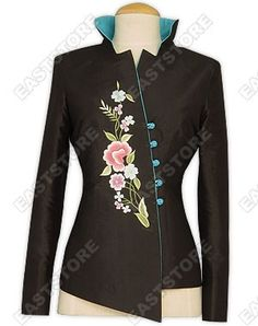 Asymmetric Front Embroidered Silk Jacket $178