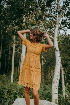 The Chenoa Lace Detail Dress in Mustard - The Chenoa Lace Detail Dress is next level amazing. The lace overlay not only adds texture, it provides even more fine detailing and femininity to you. Casual Summer Dresses, Casual Dresses For Women, Cute Dresses, Cute Outfits, 15 Dresses, Stylish Dresses, Yellow Dress Casual, Summer Dresses With Sleeves, Yellow Dress Summer