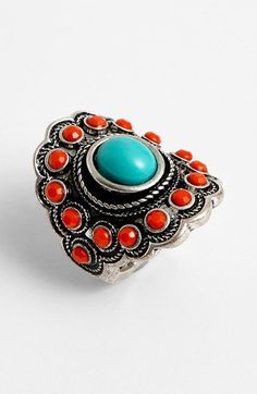 BP. Turquoise & Coral Vintage Ring | Nordstrom