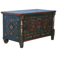Antique Original Blue Painted Trunk from Romania, Dated 1883 1 Plywood Furniture, Chalk Paint Furniture, Hand Painted Furniture, Furniture Plans, Furniture Makeover, Diy Furniture, Business Furniture, Furniture Market, Accent Furniture