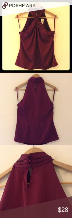 Ann Taylor sleeveless top 97% polyester 3% spandex flowy dress tank, rich color and smooth satiny feel, features a  gathered front design and high neck back closure with 3 covered buttons. Also a side zip with hook closure. (Thin straps are just for hanging purposes) Ann Taylor Tops