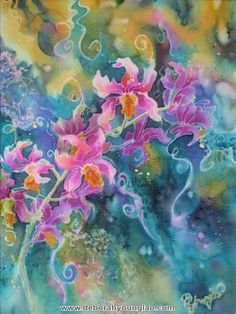 'Branching Out' - Orchid Flower Silk Painting 12 x 9 by Deborah Younglao.