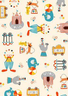 dawn bishop for Zutano - I think I need to start working on a circus pattern Kids Patterns, Textures Patterns, Fabric Patterns, Print Patterns, Circus Illustration, Pattern Illustration, Graphic Illustration, Desenho Kids, Motifs Textiles