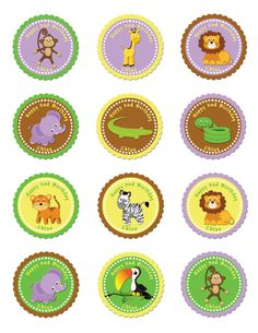 Zoo Party Favor Tags