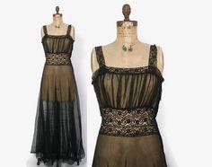 Vintage 40s Black NIGHTGOWN / 1940s Sheer Black Lace Trim Full