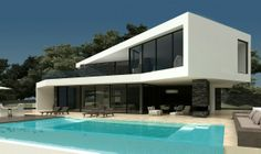 Casa Minimal Architecture, Modern Architecture House, Architecture Design, Modern House Plans, Modern House Design, International Style Architecture, Cladding Design, Small Modern Home, Concrete Houses