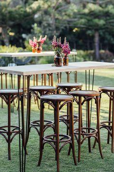 Hampton Event Hire / Black Hairpin Leg Dry Bar / Walnut Bentwood Stools / Sunshine Coast Corporate Event / {Image by When Elephant Met Zebra}