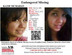 KATIE MCMAHAN, 17, was last seen in Spring City, TN on 6/12/2013.