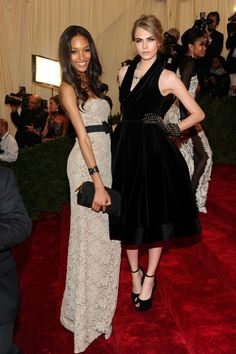 Jourdan Dunn & Cara Delevinge looking gorgeous in Burberry at the 2012 Met Gala.