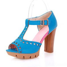 Chic Leatherette Chunky Heel Peep Toe With Buckle Party / Evening Shoes (More Colors) – USD $ 49.99