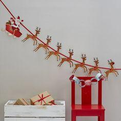 Christmas Reindeer And Santa Sleigh Kids Bunting