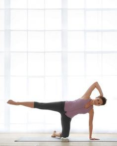 Kneeling Gate | What It Does: Works upper back, core, hips, and outer thighs.  How to Do It: From a kneeling position, bring left palm to the floor directly under shoulder. Place right hand behind your ear and extend right leg so it's parallel with the floor. Keep toes pointed, knee facing forward (not up). Make 10 small circles in one direction, then 10 in the other. Repeat with the other leg.