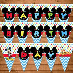 Mickey Mouse Birthday Banner Dots Chevron  by NineLivesNotEnough