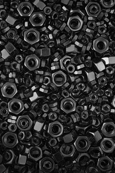 Black metal nuts without bolts heap texture abstract dark Foto Transfer, Black Noir, Vintage Design, Happy Colors, Shades Of Black, Black Is Beautiful, My Favorite Color, Textures Patterns, Black And White Photography