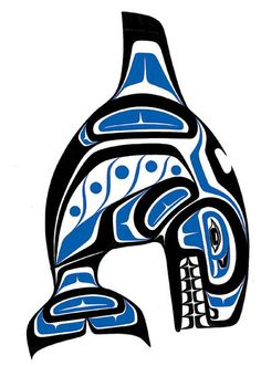 Orca, symbolizing strength, gentle giant, intelligence. Would maybe incorporate a compass pointing to the NW? Undecided on placement.Work it into a half sleeve? Thigh?  (Whale by Paul Windsor, Haisla Heiltsuk, artist from Kitimat, British Columbia, Canada.)