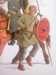 """Bondekriger som vel tager udgangspunkt i det samlede Norden. Dragten og Våbnene er simple.  Efter """"Vikinger i krig""""."""