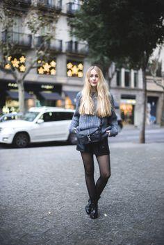 Grey and Black Street Style || Acne Sweater, Saint Laurent Boots, Rebecca Minkoff Hudson Moto Mini