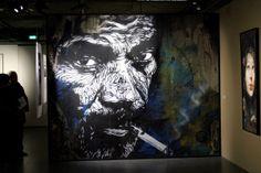 2013-03-06 (26) Smoke gets in your eyes, Pochoir et acrylique sur carton, 2012, C215, Réalisation pour lexposition