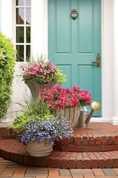 121 Container Gardening Ideas 'Caliente Pink' geraniums, 'Surfinia Rose Veined' petunias, and 'Techno Heat Light Blue' lobelias create a soft and feminine color palette for this doorstep welcome. Front Door Plants, Front Porch Planters, Front Door Colors, Fall Planters, Front Door Entry, Cheap Planters, Recycled Planters, Flower Planters, Flower Pots