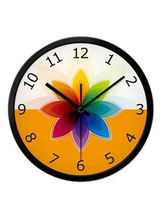 Beautiful Rainbow Color Flower Mute Wall Clock