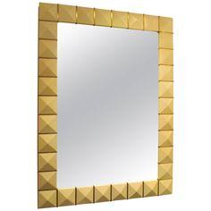 Custom Geometric Parchment Mirror with Inlaid Brass | 1stdibs.com