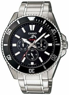 Casio Men's MDV303D-1A1V Silver Stainless-Steel Quartz Watch with Black Dial Casio. $84.96. Quartz Movement. 200 Meters / 656 Feet / 20 ATM Water Resistant. Mineral Crystal. 44mm Case Diameter. Save 19%!