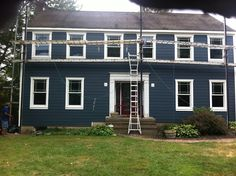 Certainteed Monogram Siding Color Is Pacific Blue Azek Trim Used For Fascia Columns Made From