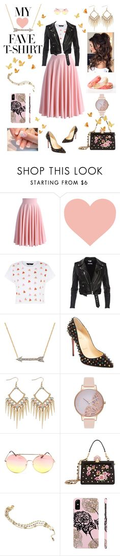 """Dress Up A T-Shirt #MyFaveTshirt"" by hopesparksembers ❤ liked on Polyvore featuring Chicwish, Forever Creations USA, Christian Louboutin, Olivia Burton, Dolce&Gabbana and BillyTheTree"