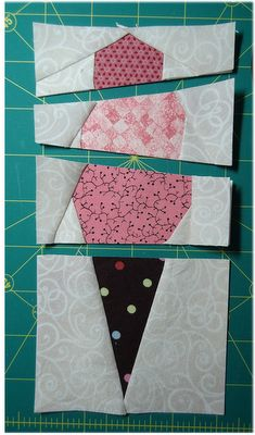 Ice Cream paper piecing quilting tutorial and pattern
