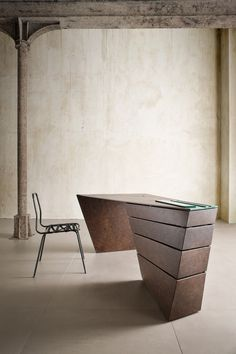 A twisting take on a traditionally formal product. In this instance the desk has been transformed into a dynamic spatial object in tension with the straight walls of the space it occupies. The tens…