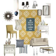 images of living rooms polyvore   Blue and Yellow Living Room by Sarah @ Comfort and Joy on Polyvore.com