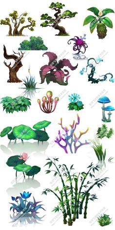 식물의 가로 버전을 손질 2D 게임 아트 CG 물적 자원 ...