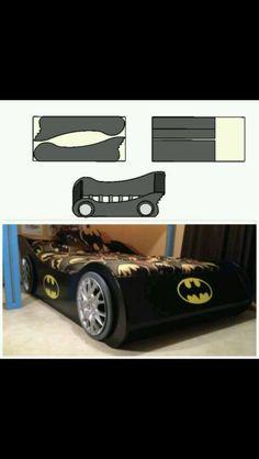 Batman bat car bed Batman Kids Rooms, Batman Bedroom, Superhero Room, Kids Room Bed, Kids Bedroom, Cnc, Cama Do Batman, Boys Bedroom Themes, Woodworking