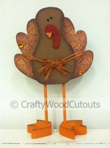 Standing Cute Turkey Thanksgiving Wood Craft