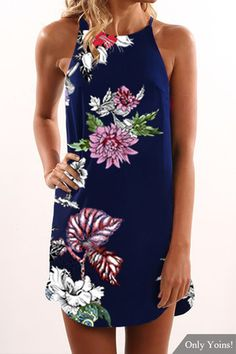 Random Floral Print Halter Neck Sleeveless Dress in Navy