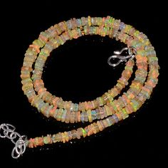 "60CRTS 3to5MM 18"" ETHIOPIAN OPAL SQUARE BEAUTIFUL BEADS NECKLACE OBI2551 #OPALBEADSINDIA"