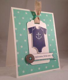 Adorable nautical Baby Card by Kathryn Kunchiak ... Something for Baby, Sea Street, Teeny Tiny Wishes and Maritime DSP