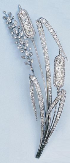 Diamond brooch . Chaumet, inscribed 'Micheline 23 Janvier 1937'.
