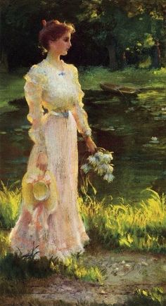 "Charles Courtney Curran(1861-1942) ""By the lily Pond"""