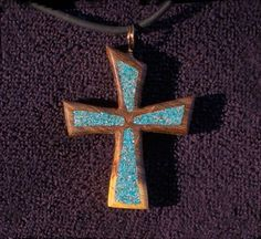 Handmade Wood Cross Pendant with Crushed by DonBurdaDesign on Etsy, $60.00  https://www.etsy.com/listing/177487305/handmade-wood-cross-pendant-with-crushed?
